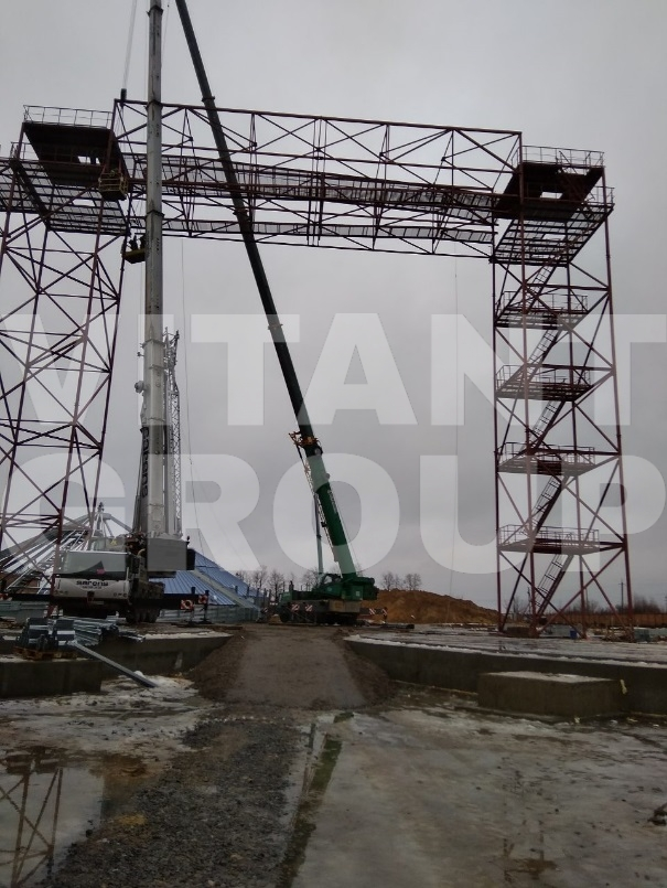 Manufacturing and installation of metal structures NORRY TOWERS and TRANSPORT BRIDGES – 57 ton – Vinnytsia, city Vendychany 2018